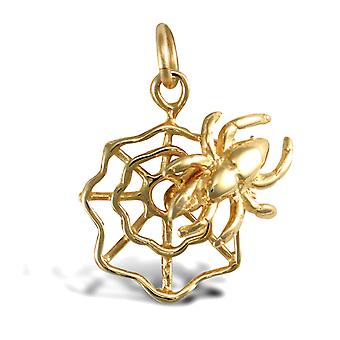 Jewelco London Solid 9ct Yellow Gold Incy Wincy Spider Web Charm Pendant