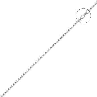 Jewelco London unisex solid 18ct hvit gull diamant cut Belcher 1,3 mm gauge anheng kjede halskjede