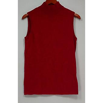 Dennis Basso Women's Sweater XXS Mock Neck Sleeveless Pink A301453