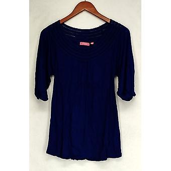 Ava Rose Lattice Embellished 3/4 Sleeve Knit Tee Blue Top Womens #4