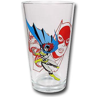 Batgirl Retro Bild Pint Glas