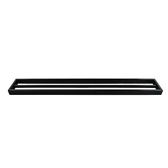 Omar Nero Square Matte Black Double Towel Rail 800mm