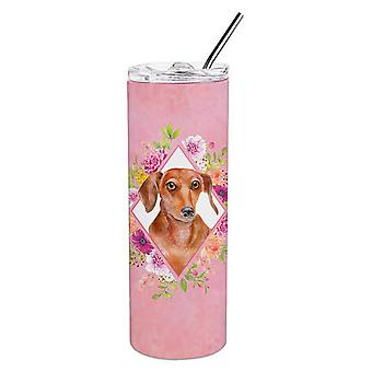 Dachshund Red #2 Pink Flowers Double Walled Stainless Steel 20 oz Skinny Tumbler