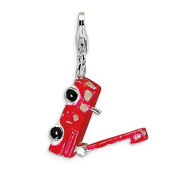 925 Sterling Silver Solid Moveable Rhodium plated Fancy Lobster Closure Enamel Fire Truck With Lobster Clasp Charm Penda