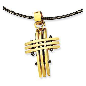 Roestvrij staal gepolijst fancy kreeft sluiting goud kleur IP verguld religieus geloof kruis ketting 16 inch sieraden geschenken