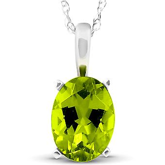 2ct Oval Shape Peridot Solitaire Pendant 14K White Gold With 18