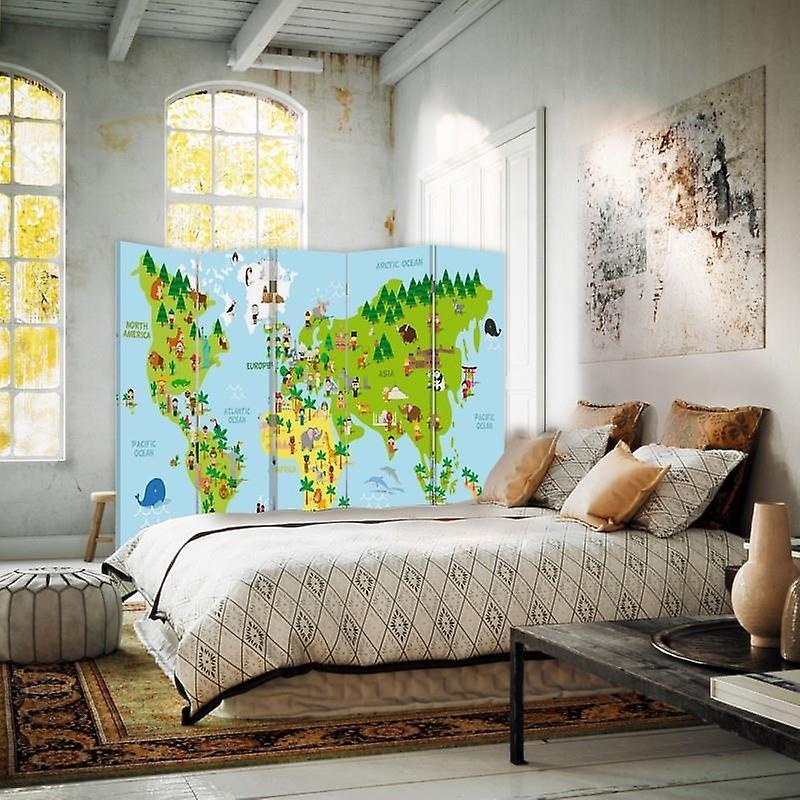 Diviseur de chambre, 5 panneaux, double-face, toile, carte du monde pour des enfants