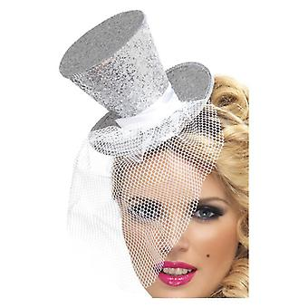 Las mujeres de plata Mini sombrero de copa en diadema disfraces accesorios