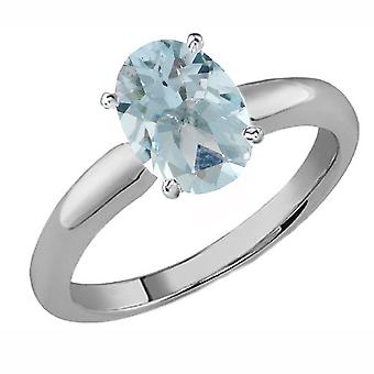 Dazzlingrock Collection Sterling Silver 9x7 MM Oval Cut Aquamarine Women's Solitaire Bridal Engagement Ring