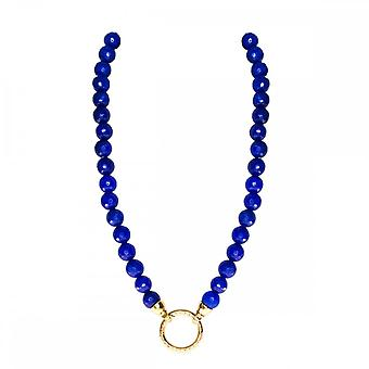 Nikki Lissoni Faceted Blue Jade 48cm Gold Plated Beaded Necklace N1004G48