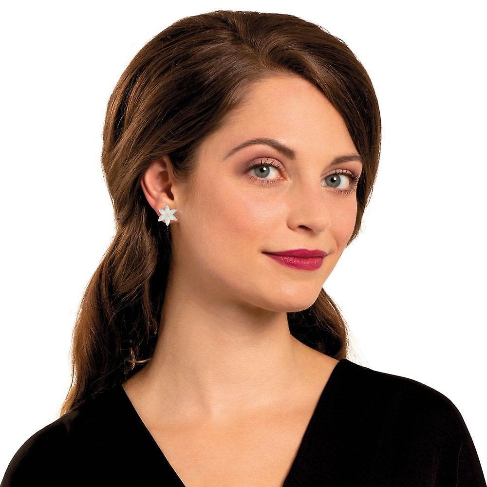 Perfekt Fantastisk pris Eternal Collection Lily White Enamel Silver Tone Flower Stud Pierced Earrings Ml6YB