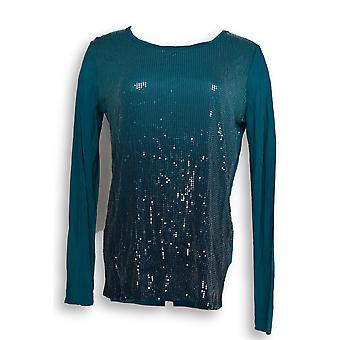 Kelly by Clinton Kelly Women's Top XXS Long Sleeve Sequin Tee Blue A271958
