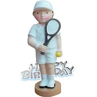 Creative Tennis Player Design Birthday Party Cake Topper