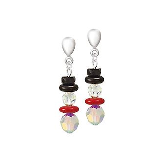 Colección Eterna Mr Snowman Aurora Borealis Crystal Silver Tone Drop Clip On Earrings