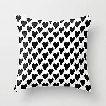 Black and white hearts cushion/pillow