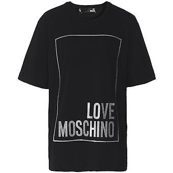 Moschino Love Moschino Oversized Metallic Logo Box T-Shirt