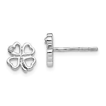 8mm Ss White Ice Diamond Clover Post Earrings Jewelry Gifts for Women - .010 dwt