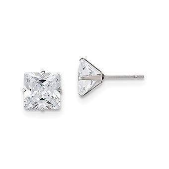 Rustfrit stål poleret 9mm Square CZ Cubic Zirconia simuleret Diamond Stud Post Øreringe smykker Gaver til kvinder