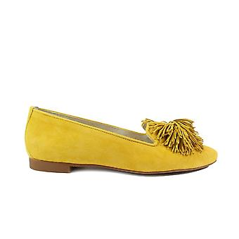Paul Green 2376-11 Yellow Velour Suede Leather Womens Slip On Shoes