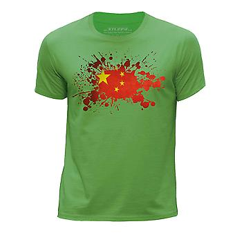 STUFF4 Boy's Round Neck T-Shirt/China/Chinese Flag Splat/Green