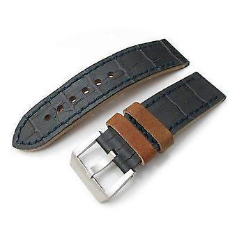 Strapcode crocodilo grain watch strap 24mm miltat antipode watch strap dark grey crococalf in lake blue hand stitches
