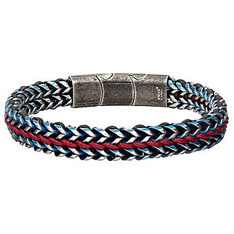 Men's Foxtail stainless steel bracelet with red wax cord