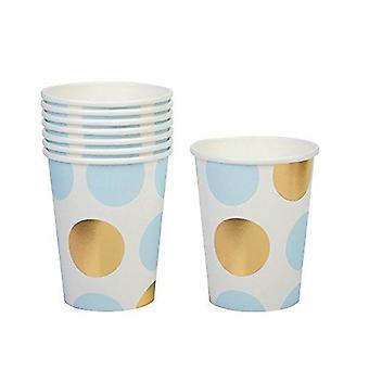 Pahare de hârtie Party-albastru și aur puncte Baby Shower/botez/Partidul x 8