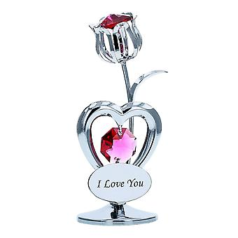 Crystocraft Miniature Tulip Hearts Silver Coloured Made with Swarovski Crystals I LOVE YOU