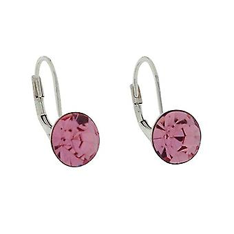 TOC Sterling Silver Round Pink Rhinestone Drop Earrings