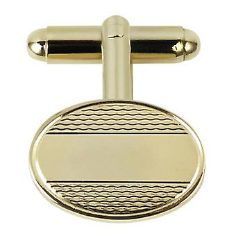 Orton West Centre Striped Oval Cufflinks - Gold