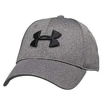 Under Armour Heathered Blitzing Mens Stretch Fit Baseball Cap Hat Grey