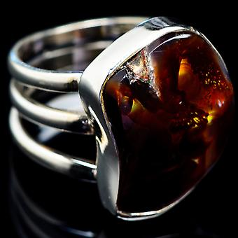 Mexican Fire Agate Ring Size 6.25 (925 Sterling Silver)  - Handmade Boho Vintage Jewelry RING4818