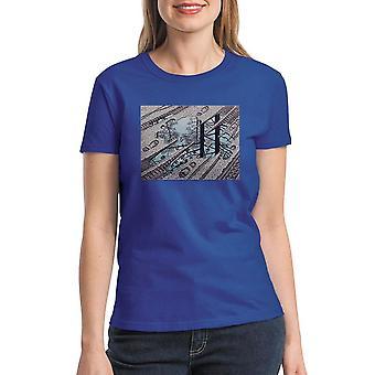M.C. Escher Puddle Tracks Women's Royal Blue T-shirt