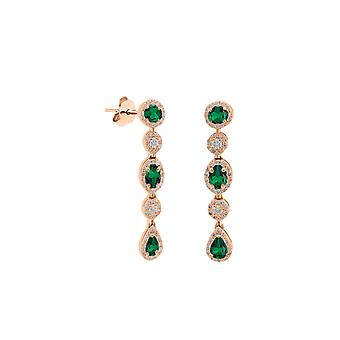 Earrings Merveille Precious Stone, 18K Gold and Diamonds - Ruby | Emerald | Sapphire - Rose Gold, Emerald