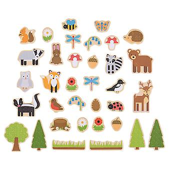 Bigjigs Toys Wooden Woodland Magnets (35) Educational Story Fridge Magnet Toy