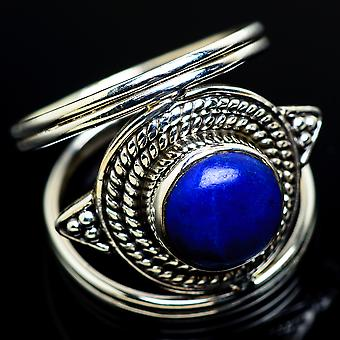 Lapis Lazuli Ring Size 7.75 (925 Sterling Silver)  - Handmade Boho Vintage Jewelry RING7460