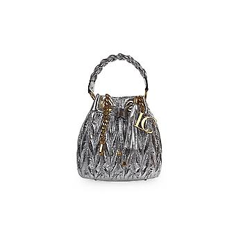 LA CARRIE OLYMPIA SILVER BUCKET BAG