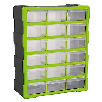 Sealey Apdc18Hv Cabinet Box 18 Drawer - Hi-Vis Green/Black