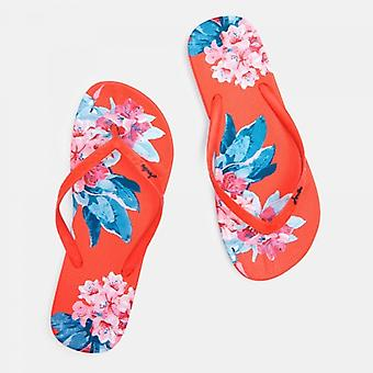 Joules Flip Flops Ladies Sandales Rouge Floral