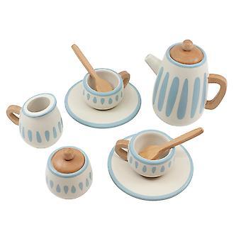 Sebra - poppen thee set - klassieke witte / stoffige teal