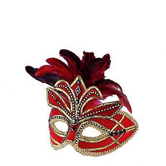 Plumes rouges W ven masque de mascarade