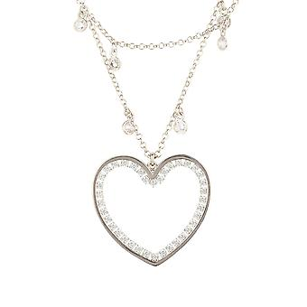 Large Silver Love Heart Bridal Jewellery Gift Double Strand Choker Necklace