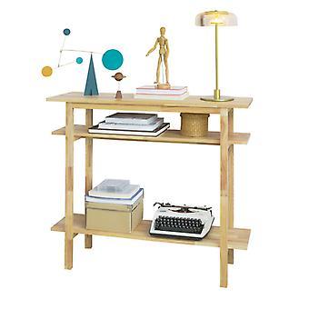 SoBuy FSB30-N, Konsole Tisch Halle Tisch Beistelltisch Endtisch mit 2 Regalen, Wohnzimmer Eingangstisch, Gummiholz