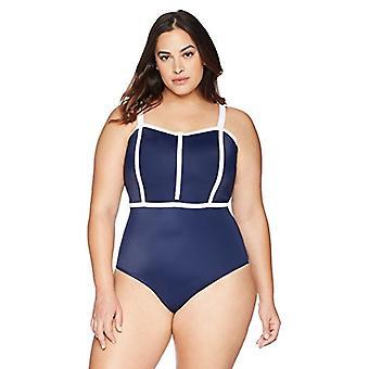 Brand - Coastal Blue Women & apos, s Plus Size Dragkedja Front One Piece Baddräkt ...