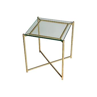 Gillmore Clear Glass Square Side Table met Brass Cross Base