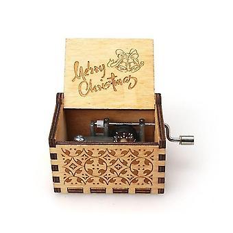 メリークリスマスジングルベル木製の手クランクオルゴール - クリスマスプレゼントとお土産