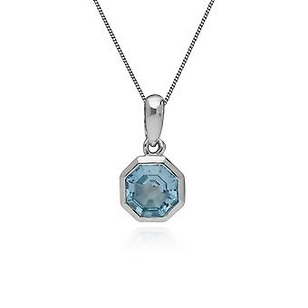 Geometric Octagon Blue Topaz Pendant Necklace in 925 Sterling Silver 270P025102925