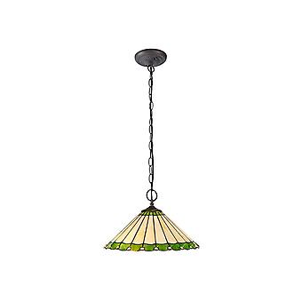 Luminosa Lighting - 2 Light Downlighter Sufit Wisiorek E27 z 40cm Tiffany Shade, Zielony, Kryształ, W wieku Antyczny Mosiądz