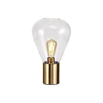 Luminosa Lighting - Narrow Table Lamp, 1 x E27, Ancient Brass, Clear Glass
