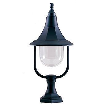 1 Light Outdoor Coastal Pedestal Light Black Polycarbonate IP44, E27